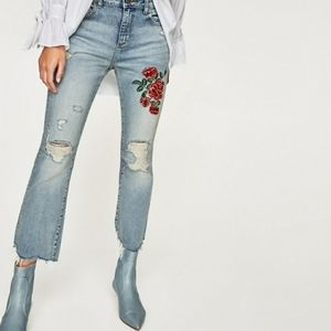 BNWOT Zara embroidered flare jeans